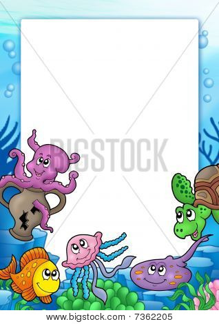 Frame with various marine animals - color illustration. poster