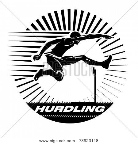 Hurdling. Vector illustration in the engraving style