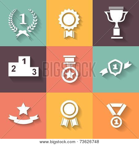 Set of white vector award  success and victory icons with trophies  stars  cups  ribbons  rosettes