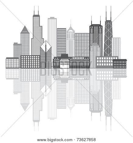 Chicago City Skyline Grayscale Vector Illustration