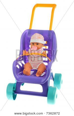 Violet doll buggy isolated on white