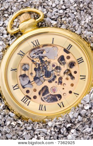 Antique mechanical pocket watch on silver nuggets. poster