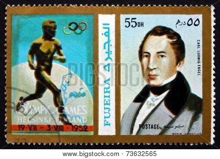 Postage Stamp Fujeira 1972 Carl Ludwig Engel, German Architect