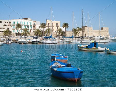 Boats at the old port of Bari. Apulia. poster