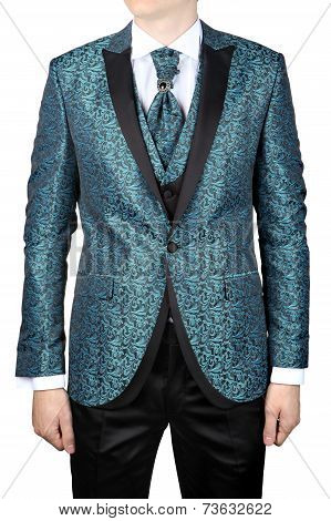 Wedding Turquoise with floral ornaments men's suit for the groom or prom isolated on white background. poster