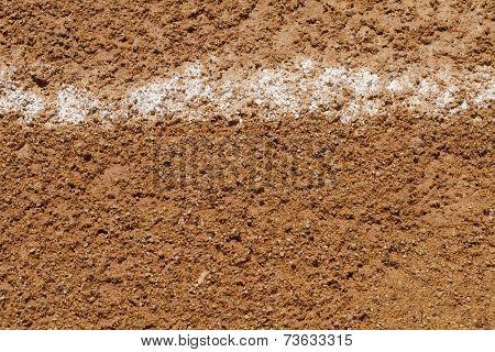 Foul Ball Chalk Line On A Baseball Field