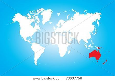 Map Of The World With A Selected Continent Of Australia