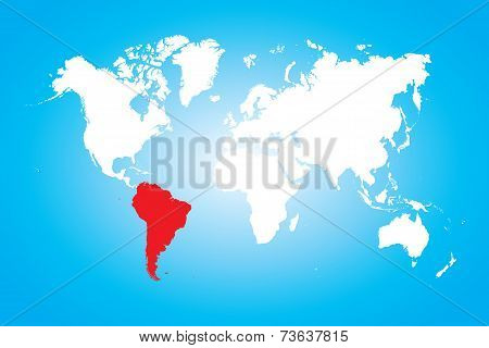 Map Of The World With A Selected Continent Of South America