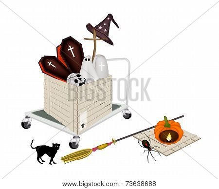 Pallet Truck Loading Halloween Items in Shipping Box