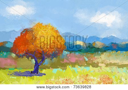 Oil Painting Of A Colorful Rural Landscape