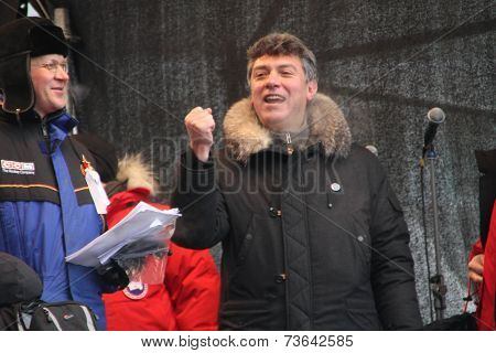 Policy Nikolay Ryzhkov and Boris Nemtsov on the stage of opposition rally