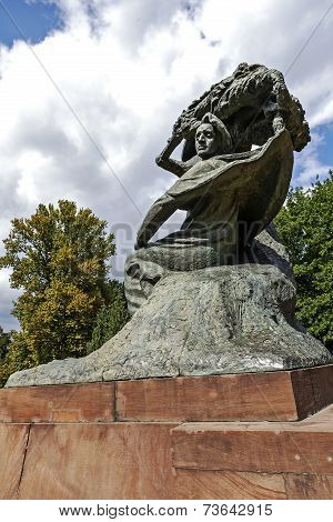 Monument To Chopin In Warsaw's Lazienki In Poland