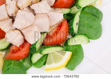 Meat salad with vegetables.