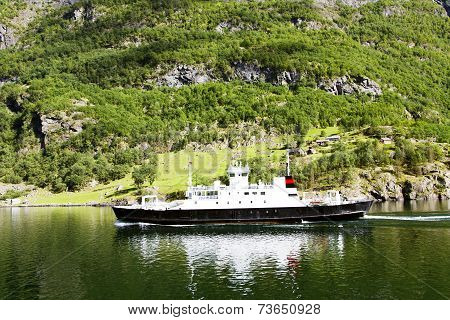 Ferry boat (ro-ro and passenger ship) in Lysefjord, Norway. Ferry connects Stavanger town and Lysebotn village poster
