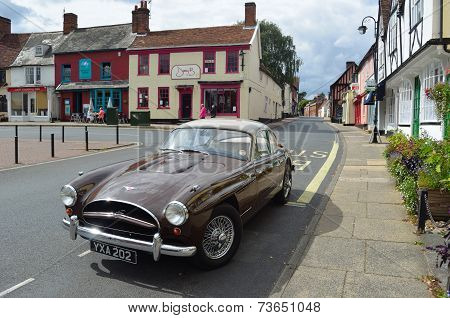 Classic Jensen Car on Woodbridge Market Square.