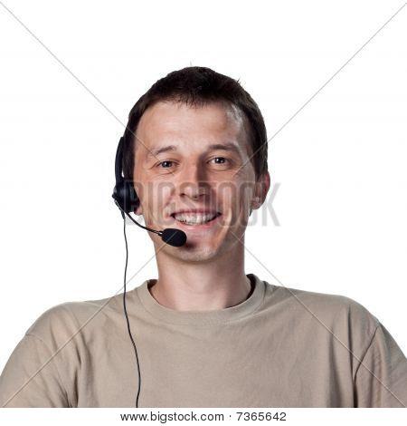 Grinning Call Center Worker