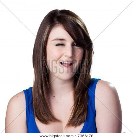 Winking Young Woman
