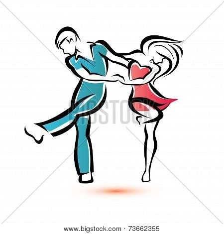 Jive Dancing Couple, Outlined Vector Sketch