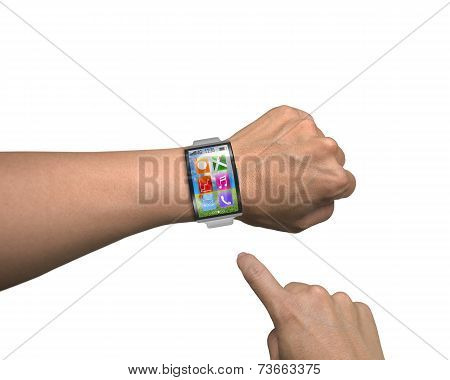 Man Hand Wearing Smartwatch With Metal Watchband