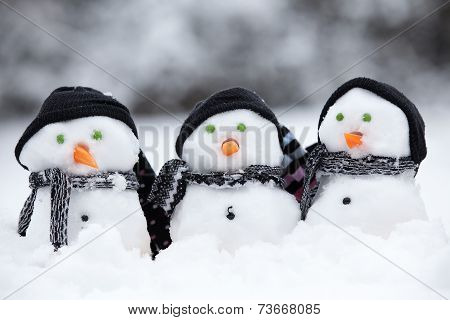 Three Little Snowmen With Hats