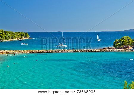 Turquoise Croatian Beach On Murter Island