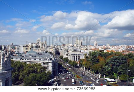 Madrid skyline view from Cybele Palace, Spain