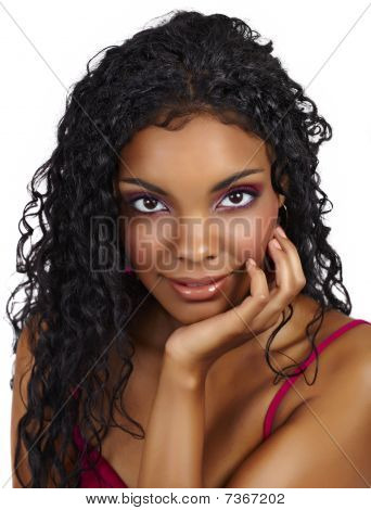 Beautiful African Woman With Curly Hair