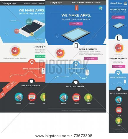 Two web page templates including responsive version