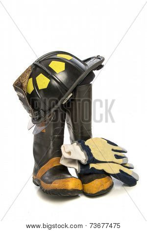 Heavy Duty Protective Fire Fighting Cloth, Boots, Gloves, Helmet, Isolated on White Background