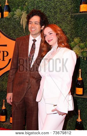 LOS ANGELES - OCT 11:  Geoffrey Arend, Christina Hendricks at the Fifth-Annual Veuve Clicquot Polo Classic at Will Rogers State Historic Park on October 11, 2014 in Pacific Palisades, CA