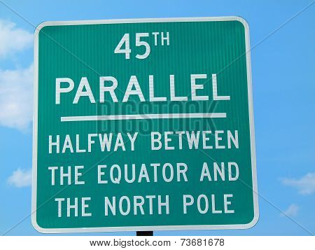 45th Parallel Sign