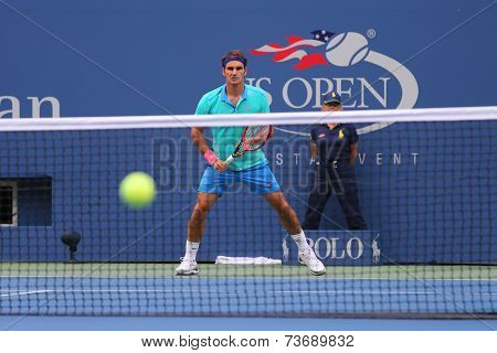 Seventeen times Grand Slam champion Roger Federer during semifinal match at US Open 2014