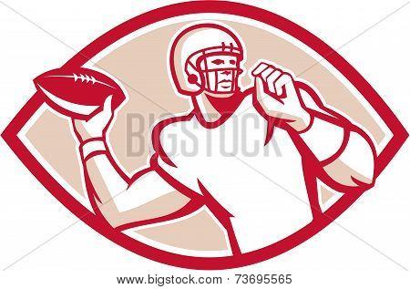 American Football Qb Throwing Oval Retro