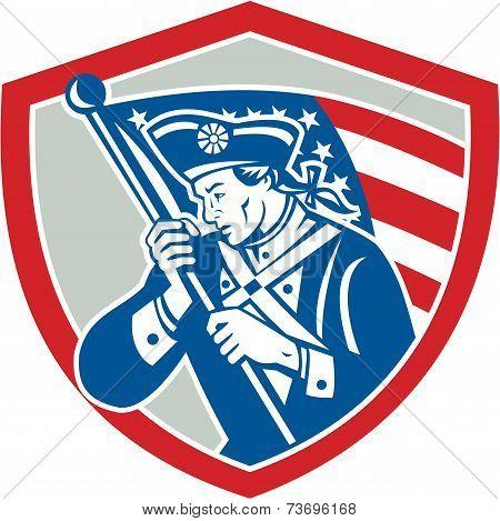 American Patriot Soldier Waving Flag Shield