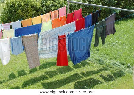 Hanging Wash To Dry.