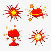 Comic Book Explosion, Bombs And Blast Set/ Illustration of a set of comic book explosion, blast and other cartoon fire bomb, bang and exploding symbols poster