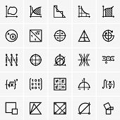 Set of Math icons on grey background poster