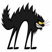 An angry, black cartoon tomcat's mad fury. poster