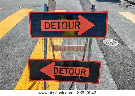 Detour Sign On The Street