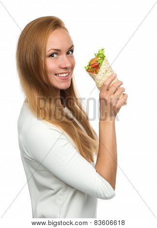 Woman eating tasty unhealthy burger twisted sandwich in hands hungry getting ready to eat isolated on a white background Fast food concept poster