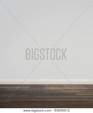 Empty grey room with dark wood floor