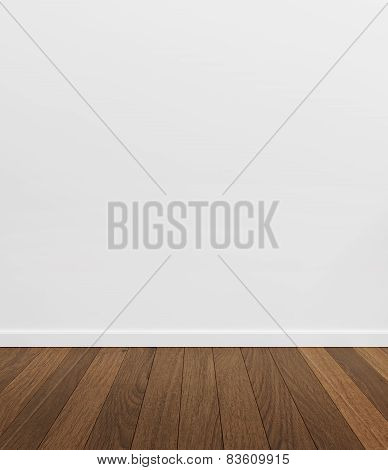 Empty white room with wood floor