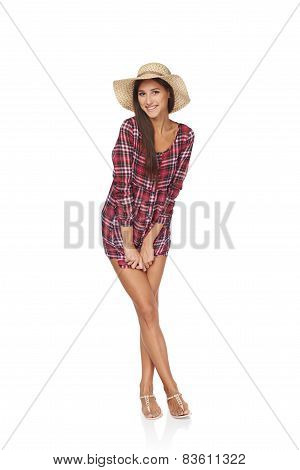 Happy young woman portrait in full length