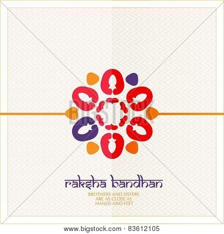 Colorful heart decorated Rakhi