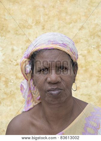 Portrait of an African woman, sixty years old