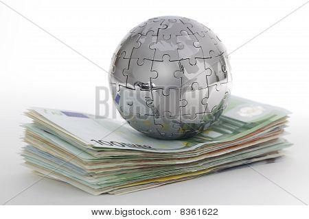 Metal Puzzle Globe With Money