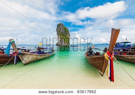 Fishing Thai Boats And Landmark At Po-da Island, Krabi ,thailand