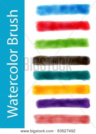 Set Of Vector Watercolor Brushes