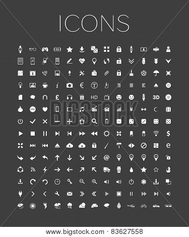 Set Of Universal Web Icons On A Gray Background