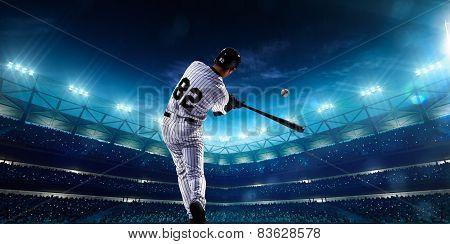 Professional baseball players on night grand arena